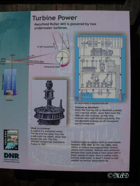 A chart explaining how turbine power is used to run a grist mill.